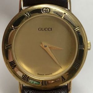 Gucci 3000.2.L Gold Face Watch w/ Brown Band